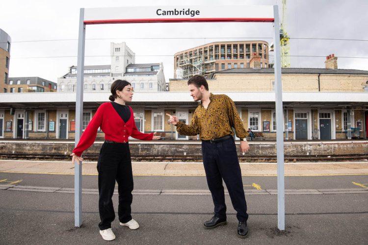Actors, India Lewis and Sol Alberman atCambridge station