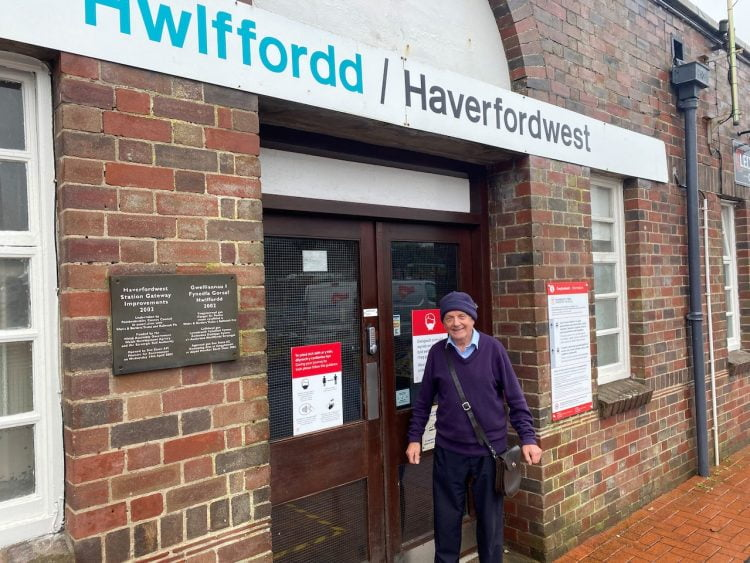 Jimmy at the entrance to Haverfordwest Station