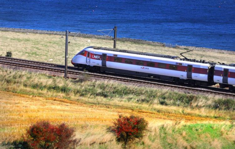 LNER Azuma on a Coast line on the Mainline