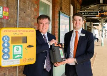 Life-saving defibrillators like these have been fitted to all of Great Northern, Southern and Thameslink's stations