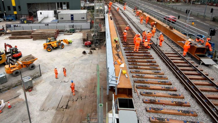 New track being laid over replaced Warrington Central Bridge