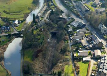 Summit Tunnel aerial image Walsden end winter 2