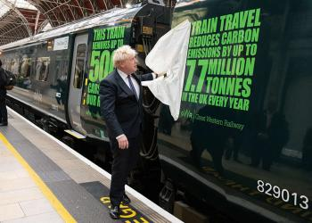 Boris Johnson at Paddington Station for new decals being applied to a Great Western Railway hybrid electric train, London, 15th October 2021
